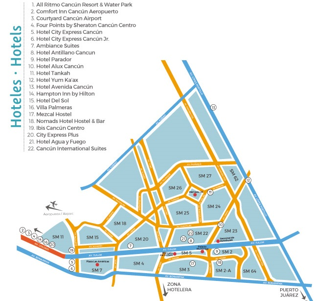 Map of Downtown Cancun Hotels