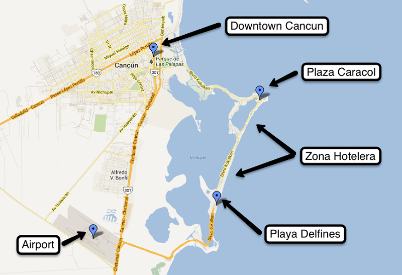 Map of the best regions to stay in Cancun