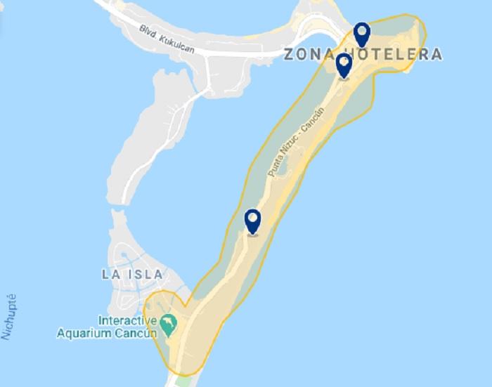 Map of best hotels in the Hotel Zone in Cancun