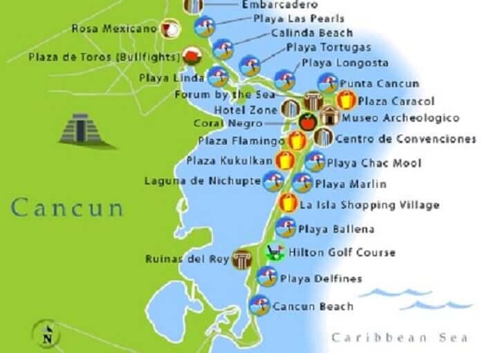 Map of Cancun beaches