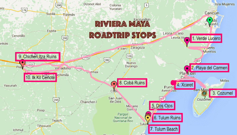 Map with the main tours of Cancun