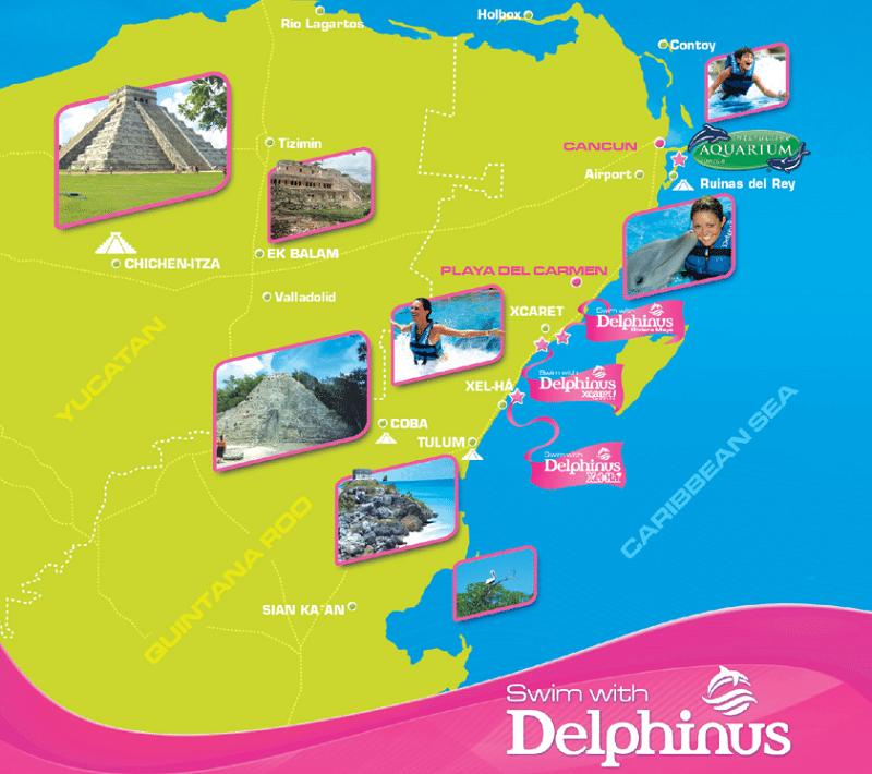 Dolphin Swim Map at Delphinus Cancun