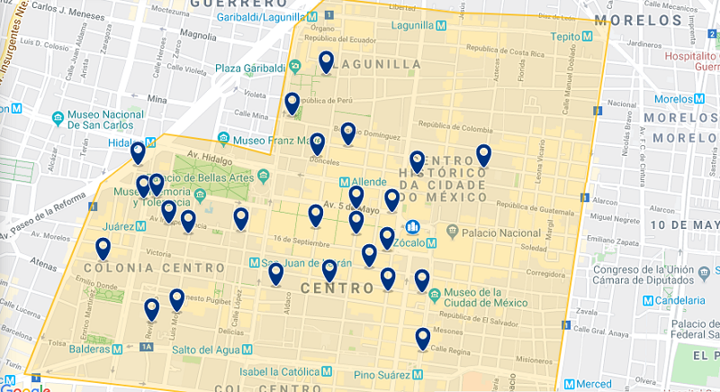 Map of the best regions in Mexico City